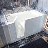 Spa World Venzi Vz3060wilwa Rectangular Air Jetted Walk-In Bathtub, 30x60, Left Drain, White