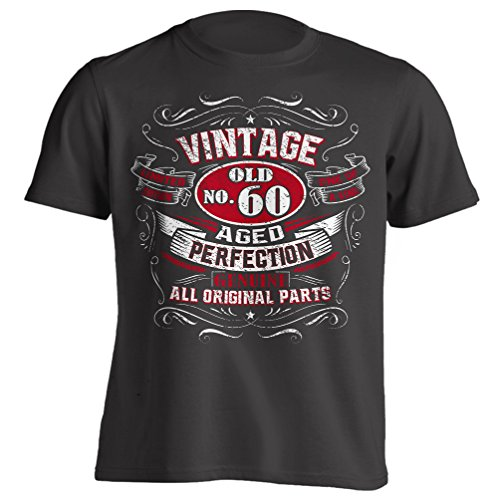 Vintage 60th Birthday Gift Shirt for Men Black X-Large (Best Gift For 60th Birthday Man)