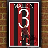 ac art - Paolo Maldini Poster - AC Milan Art