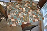 Square Coffee Table Elastic Edged Flannel Backed Vinyl Fitted Table Cover - GLOBAL COFFEE Pattern - Square - Fits tables up to 46
