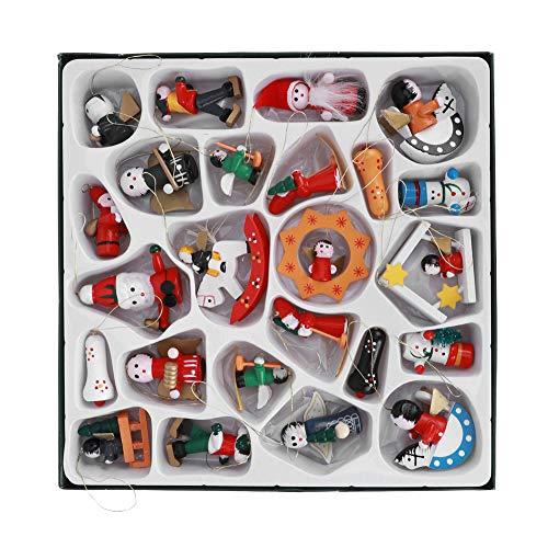 Kersthanger, kerstdecoratie, houten voor kindercadeaus, familiefeest, 24-delige set, blauw)