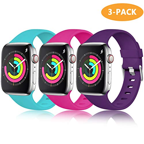 (Laffav Sport Band Compatible with Apple Watch 40mm 38mm iWatch Series 4 3 2 1, Rose, Teal, Purple, 3 Pack, M/L)