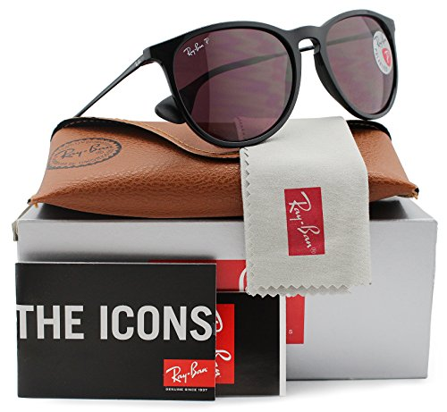 Ray-Ban RB4171 Erika Polarized Sunglasses Shiny Black w/Crystal Purple (601/5Q) 4171 6015Q 54mm - Ban Ray Erika Black