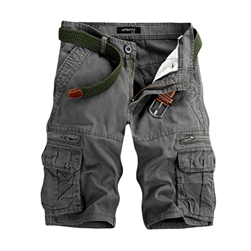 iZHH Men's Pure Color Outdoors Pocket Beach Work Trouser Cargo Shorts Pant(Gray,33)