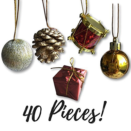 Ornament Craft Set (Mini Christmas Ornaments - Assorted Set of 40 Ornaments - Gold Mini Ball Ornaments - Pinecones and Presents - Mini Red Drums - Each Ornament is Approximately One Inch)
