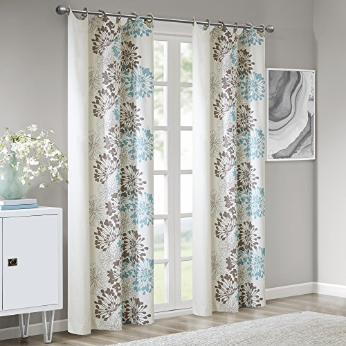 Blue Curtains for Living Room, Modern Contemporary Grommet Curtains for Bedroom, Anaya Print Fabric Window Curtains, 50x84, 1-Panel Pack