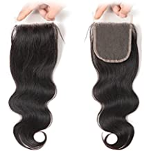 West Kiss Hair Body Wave Brazilian Virgin Human Hair Free Part 4x4 Lace Closure No Bleached Knots (14 inches free part)