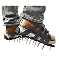 Lawn Aerator Shoes Nylon- 4 Adjustable Straps and Metal Buckles- Assembled Nylon Sandals with Heavy Duty Spike for Aerating Lawn or Yard