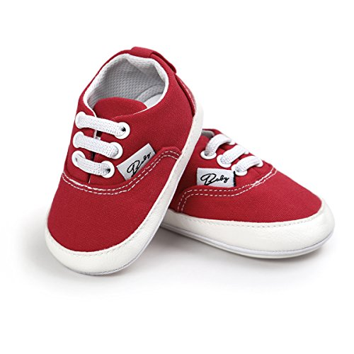 FAMI Baby Boys Girls Canvas Toddler Sneaker Anti-Slip First Walkers Candy Shoes 0-18 Months 12Colors-Red