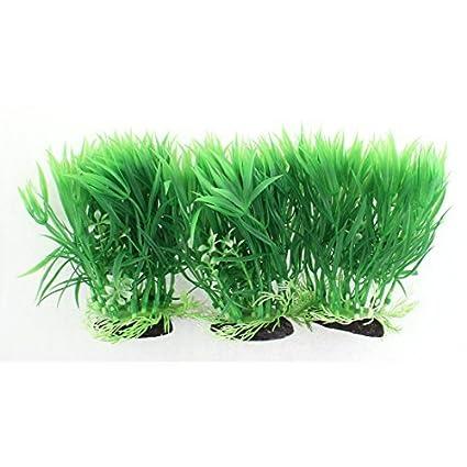 eDealMax cerámica plástico Base acuario imitado Planta de hierba de agua 3pcs 14x15cm