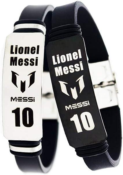 Football Lionel Messi Neymar inspir/é Logo Personnel Bracelets r/églables Bracelet de Football en Acier Inoxydable Sport Silicone 2 pcs