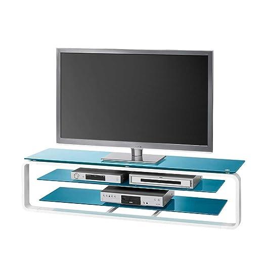 Mesa TV cristal en color azul blanco Iluminación Pharao24, metal ...