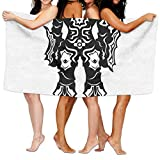 Haixia Oversized Bath Towels Video Game Illustration of Warrior in Black and White Fiction Battle Fantastic Creatures Decor Full Multi