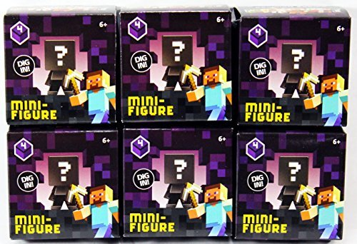 (Bundle of 6) Minecraft Collectible Figure Mystery Blind Box Obsidian Series 4