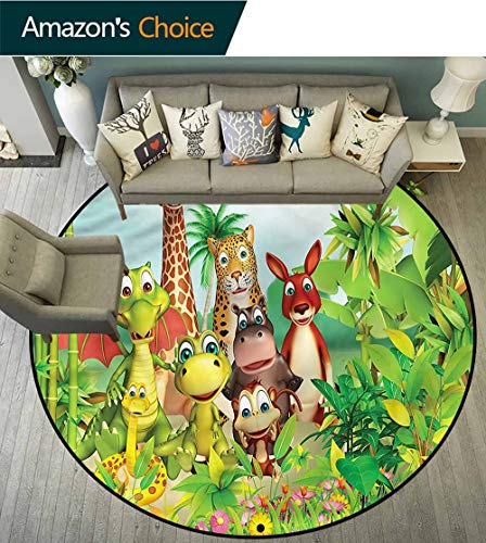 Rugs Ring 3D Non-Slip Rug,Cute Animal Dinosaur Jungle Kids Teepee Tent Game Play House Round Round-63 ()