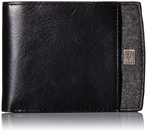 dockers-mens-extra-capacity-slimfold-wallet-with-ornament-logo-and-fabric-inlay-black-grey-one-size