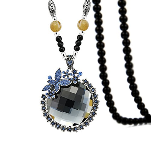 Z-Jeris Women Fashion Big Crystal Flower Pendant Long Beaded Chain Sweater Necklace (Grey (Beaded Long Chain Necklace)