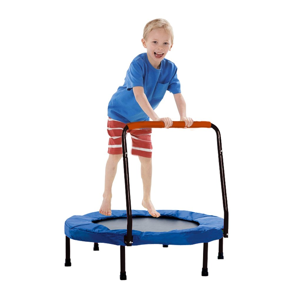 Trampoline - Fold-able Junior Jumping Trampoline with Black Safety Handles - Christmas | Gifts | Exercise | Holiday Fun... and much more!