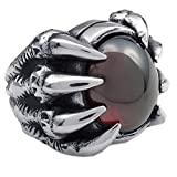 KONOV Vintage Stainless Steel Gothic Dragon Claw Biker Mens Ring, Red - Size 11