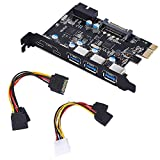 TOTOVIN PCI-E to USB 3.0 C + A 5-Port PCI Express Card and 15-Pin Power Connector, Mini PCI-E USB 3.0 Hub Controller Adapter, with Internal USB 3.0 20-PIN Connector - Expand Another Two USB 3.0 Ports