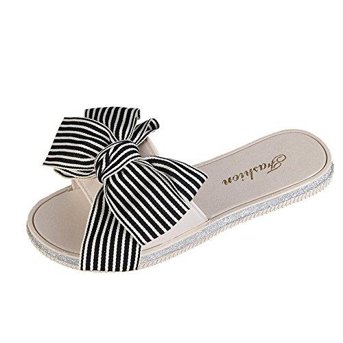 Women's Summer Flip Flops Open Toe Stripe Bow-Knot Slippers Casual Slip On Flip Flops (Beige, US-5)