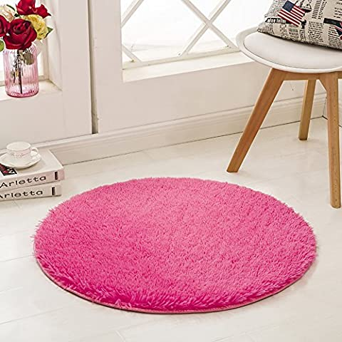 SANMU Super Soft Indoor Modern round Rugs New Arrival Fashion Color for Girls living Room, Bedroom , Parlor Fluffy Silky Smooth Rugs, Mats, round shag rug, Footcloth for Home Decorate. 4 Feet Rose (Gray And Pink Round Rug)