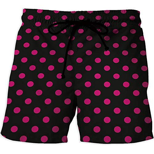 Men's Swim Trunks, Hot Pink,Printed Quick-Drying Swimming,Old Fashioned Polka -
