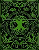 Diary Writing Creative Dream Journal Hand Tooled Leather Rich Green Pentagram Tree of Life 8x10