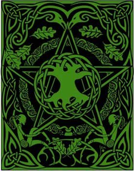 Writing Diary Journal Notebook Sketchpad Hand Tooled Leather Rich Green Pentagram Tree of Life 8x10