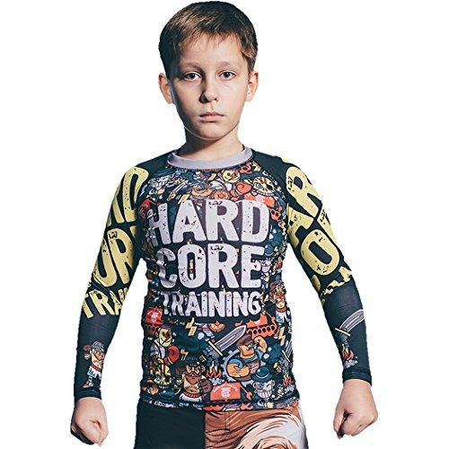日帰り旅行にリングレット少ないKidsラッシュガードハードコアトレーニングDoodle Long Sleeves MMA Fitness Boys