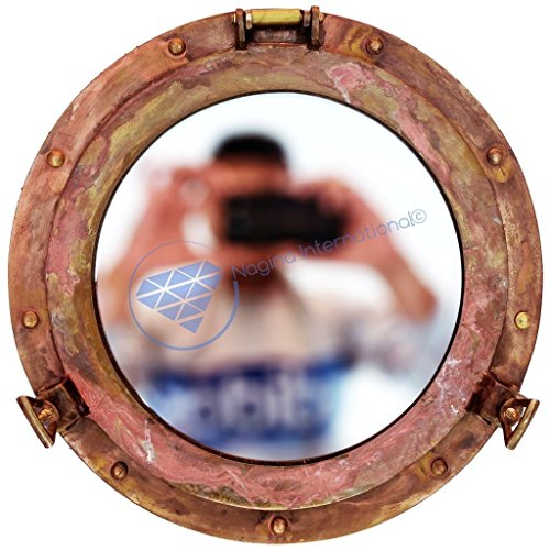 Antique Shipwrecked Rusted Nautical Brass Ship's Porthole Wall Decor Mirror | Vintage Window | Maritime Ship's Vintage Decorative Mirror | Nagina International (24 Inches, Porthole Type : Mirror) by Nagina International