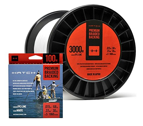 - Hatch Premium Braided Fly Line Backing, 68 lb Test, WHITE - 100, 150, 200, 250, 300, 350, 400, 600 up to 3000 m (200m (219 yds))