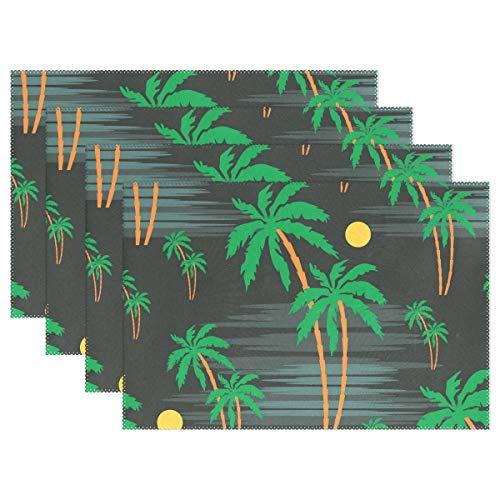 YATELI Placemats Seamless Palm Tree Pattern Green 12x18 inch Heat Resistant 1 Piece Non Slip for Dinning Kitchen (Tree Palm Pattern)