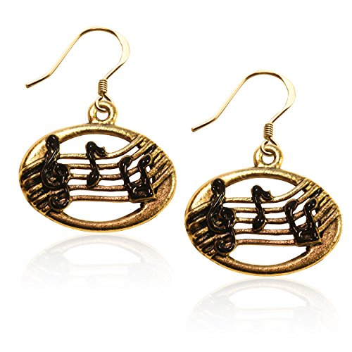 Whimsical Gifts Music Charm Earrings (Disc with Musical Notes, Gold)