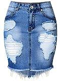 chouyatou Women's Retro High-Waist Boyfriend Ripped Holes Denim Skirt (X-Small, Blue)