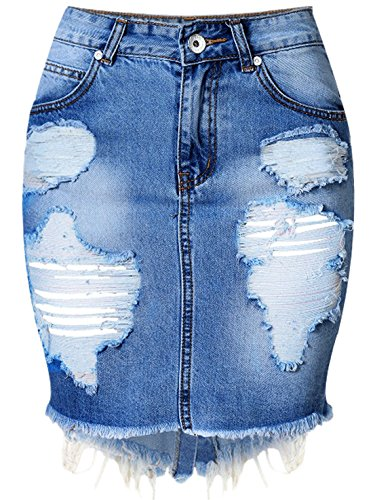 chouyatou Women's Retro High-Waist Boyfriend Ripped Holes Denim Skirt (X-Small, Blue)