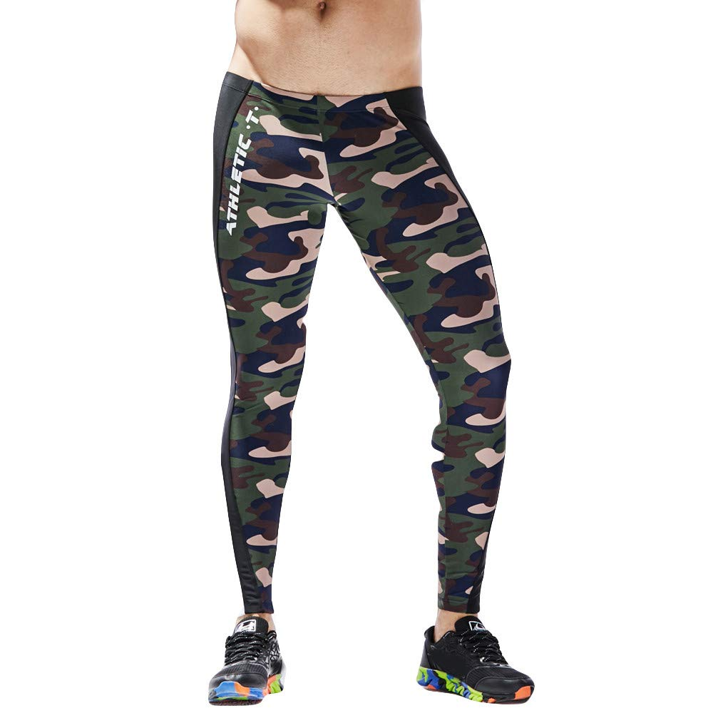 ASIbeiul Men's Sports Camouflage Patchwork Fitness Pants Quick-Drying Breathable Tights(Army Green,L)
