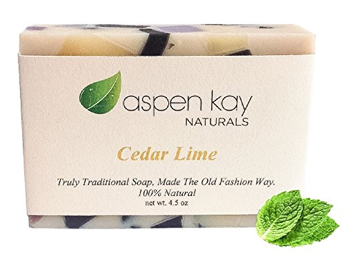 Essential Oils Scented Bar Soap (Cedar Lime Soap, 100% Natural & Organic, With Organic Shea Butter & Organic Olive Oil. Scented With Pure Essential Oils, GMO Free, Preservative Free. Handmade, 4.5 oz.)