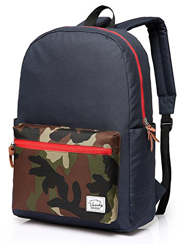 Vaschy Casual Water-resistant Camouflage School Backpack Blue Fits 15in - Shopping High Online Brands End