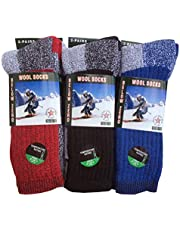 "6-Pairs Men's Wool Thermal Socks Fits 10-13 Winter Outdoor""Heavy Duty"" USA"