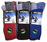 6-Pairs Men's Wool Thermal Socks Fits 10-13 Winter Outdoor'Heavy Duty' USA