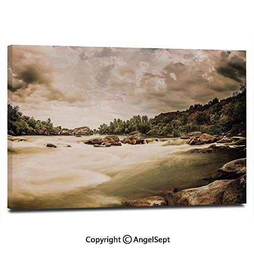 (Modern Gallery Wrapped Saturated Nature Photo of Cloudy Storm Sky and Rocky River Image Pictures on Canvas Wall Art Ready to Hang for Living Room Kitchen Home Decor,12
