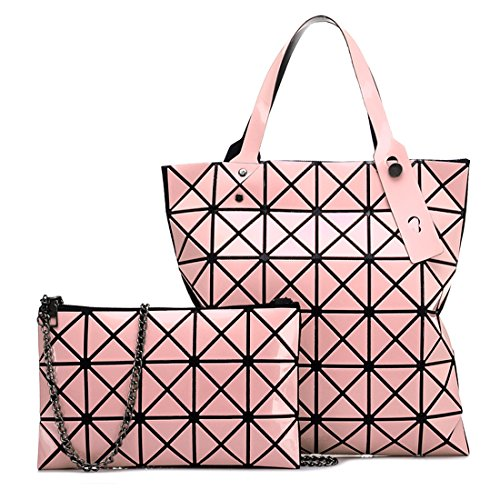 Top 2Pcs Bag Shoulder PU Diamond Tote Set Lattice Womens Geometric Red Satchel Leather Bag Handle Rose Handbag 7wqx5wrv