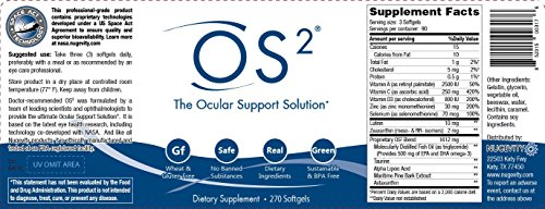 OS2 - The Ocular Support Solution Eye Health Nutritional Supplement 270 Softgels by Nugevity/AmeriSciences (Image #1)