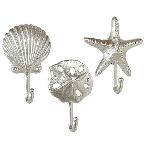 Set of 3 Assorted Midwest CBK Elegant Silver Cast Iron Sea Shells Wall - Sands Florida Silver