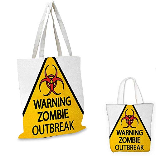 Zombie royal shopping bag Warning the Zombie Outbreak Sign Cemetery Infection Halloween Graphic funny reusable shopping bag Earth Yellow Red Black. 16
