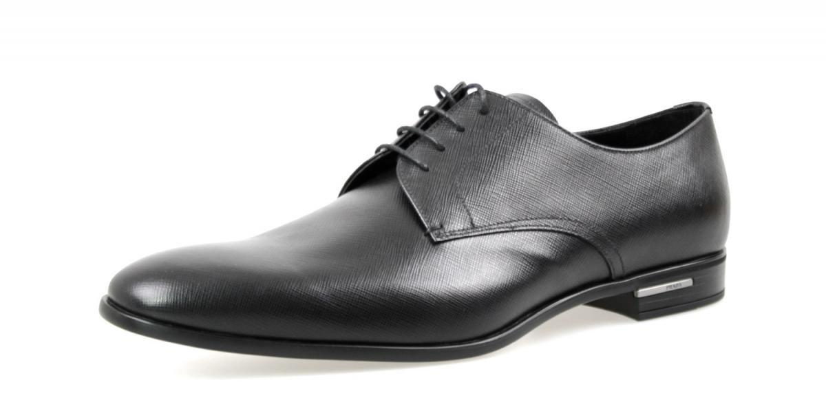 Prada Men's 2EC030 053 F0002 Black Saffiano Leather Business Shoes EU 10 (44)/US 11