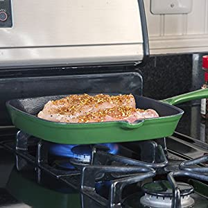 Non Stick Enamel Cast Iron Square Grill Pan, from BackCountry Chef, Timeless and Durable, 10.5-inch, Beautiful Forest Green