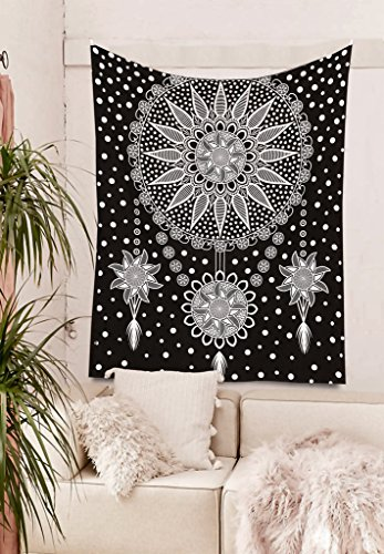 Mandala Decor Tapestries - hippie wall hanging Black and White Native American tapestry Indian Dream Catcher art printed on pure cotton size 46 x 54 (Hippie Decor Shop)
