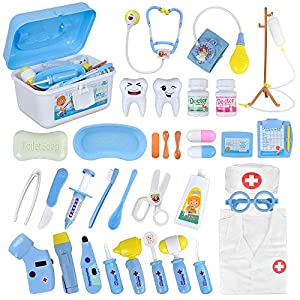 Funplus Doctor Kit for Kids, 35Pcs Doctor Costume Dentist Toy Medical Kit with Light and Sound Including Electronic Stethoscope, Blood Pressure Cuff and Lab Coat in Sturdy Case for Toddlers Xmas Gift